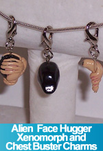 Alien Face Hugger Xenomorph and Chest Buster Charms