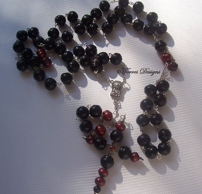 Rosary – Large Black Lampwork Glass Beads and Dark Red Pearl Beads with Custom Large Cross
