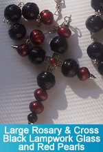 Rosary - Large Black Lampwork Glass Beads and Dark Red Pearl Beads with Custom Large Cross
