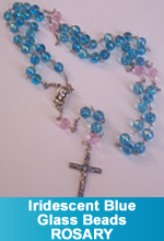 Rosary - Fire Blue Iridescent and Baby Pink Glass Beads
