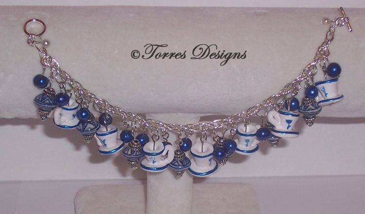 Blue Tea Cups Charm Bracelet