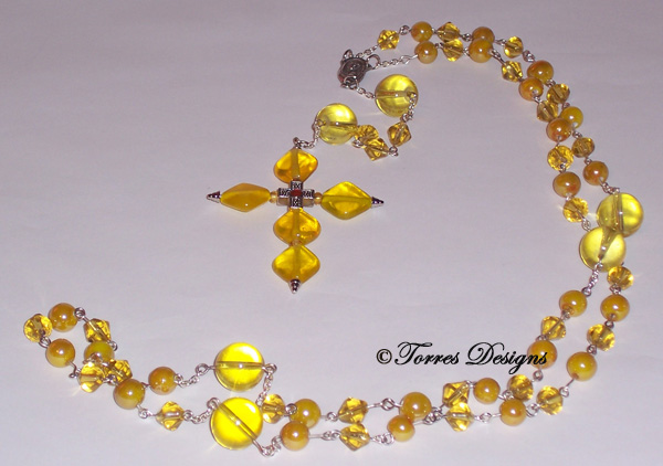 Canary Yellow Rosary and Large Cross