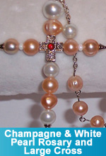 Champagne Rosary and Large Cross
