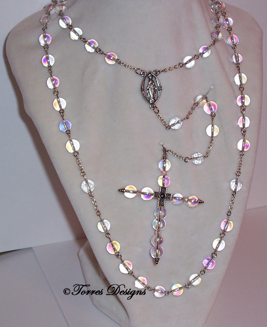 Iridescent Rosary and Large Cross