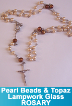 Rosary - Vintage Pearl and Topaz color Lampwork Glass Beads