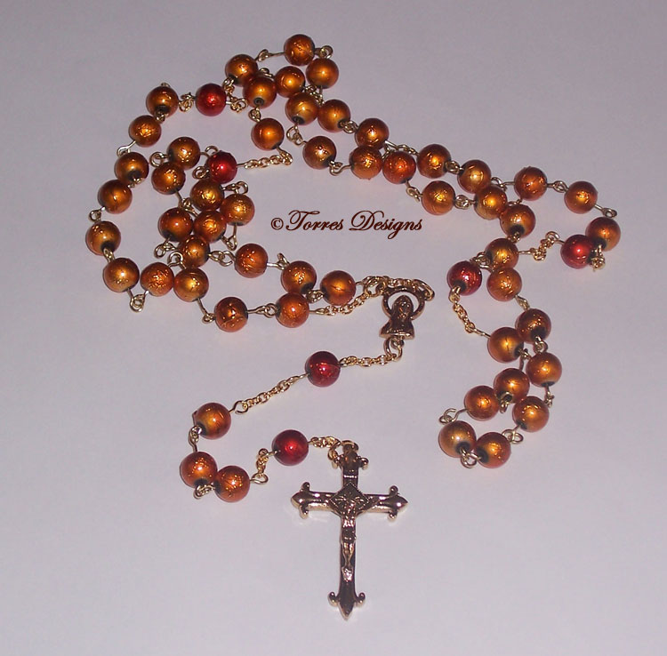 Dark Gold Crush Lampwork Glass Beads Rosary