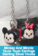 Tsum Tsum Mickey and Minnie Earrings Dangle Sterling Silver Hooks Earrings