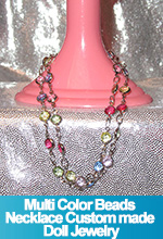 Multi Color Beads Necklace Custom made Doll Jewelry