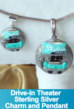 Drive-In Theater Charm and Pendant with Sterling Silver base and bezel OOAK One of a Kind Custom Commission Special Etsy Shop Request TorresDesigns Torres Designs