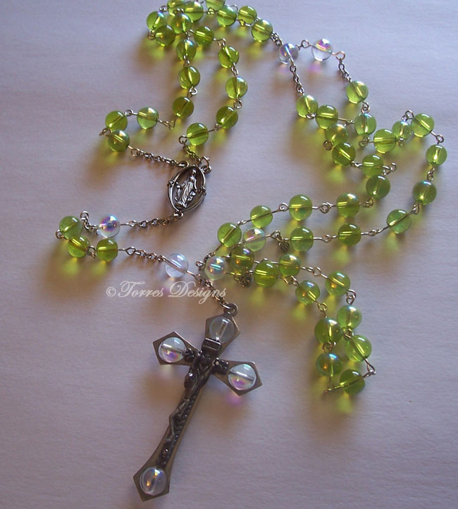 Fire Green and Clear Iridescent Glass Beads Rosary