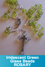 Rosary - Fire Green and Clear Iridescent Glass Beads