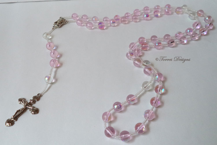 Light Pink and Clear Iridescent Fire Polish Glass Beads Rosary
