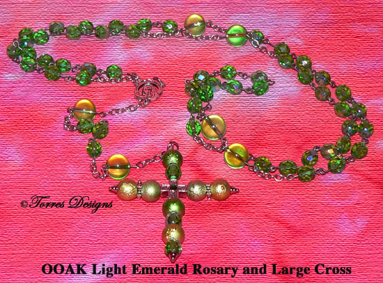 Light Emerald Rosary and Large Cross