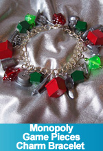 Monopoly Game Pieces Charm Bracelet Custom made One of a Kind OOAK TorresDesigns Torres Designs