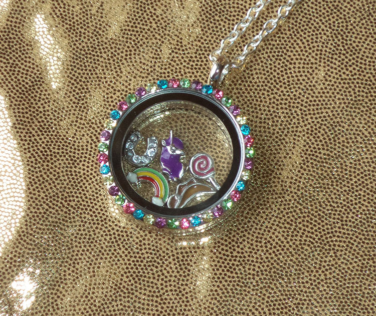 My Little Pony Friendship Is Magic Story Locket Pendant Necklace Floating Glass and Metal Charms