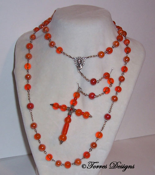 Orange Rosary and Large Cross