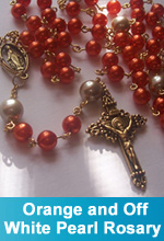 Orange and Off-White Pearl Rosary