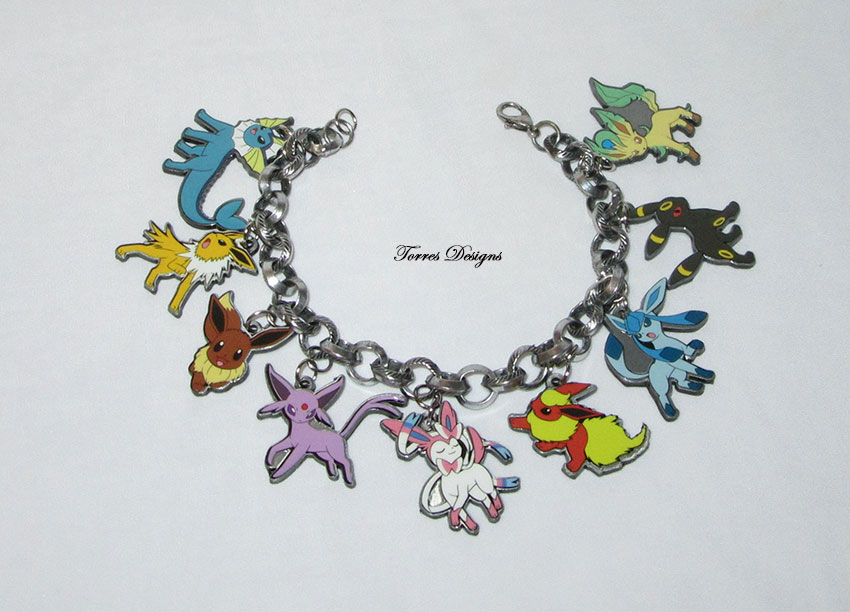 Custom made Pokemon Eevee Evolution Eeveelution Large Charms Bracelet