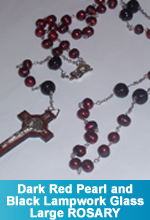 Rosary - Dark Red Pearl Beads and Large Black Lampwork Glass Beads