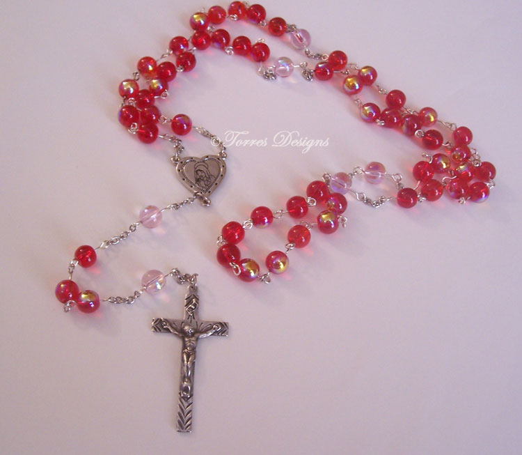 Fire Red and Baby Pink Iridescent Glass Beads Rosary