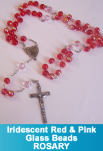 Rosary - Fire Red and Baby Pink Iridescent Glass Beads