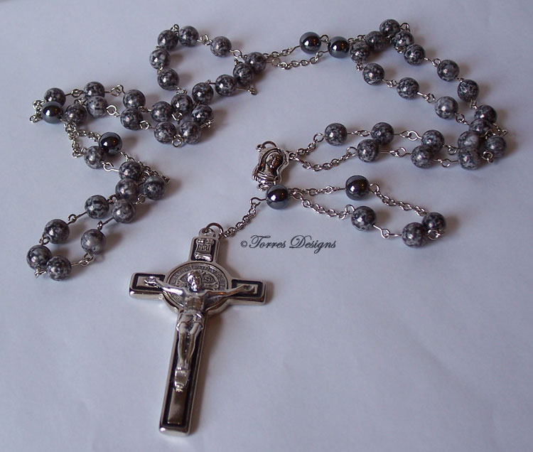 Black Marble Shiny Gun Metal Beads Rosary
