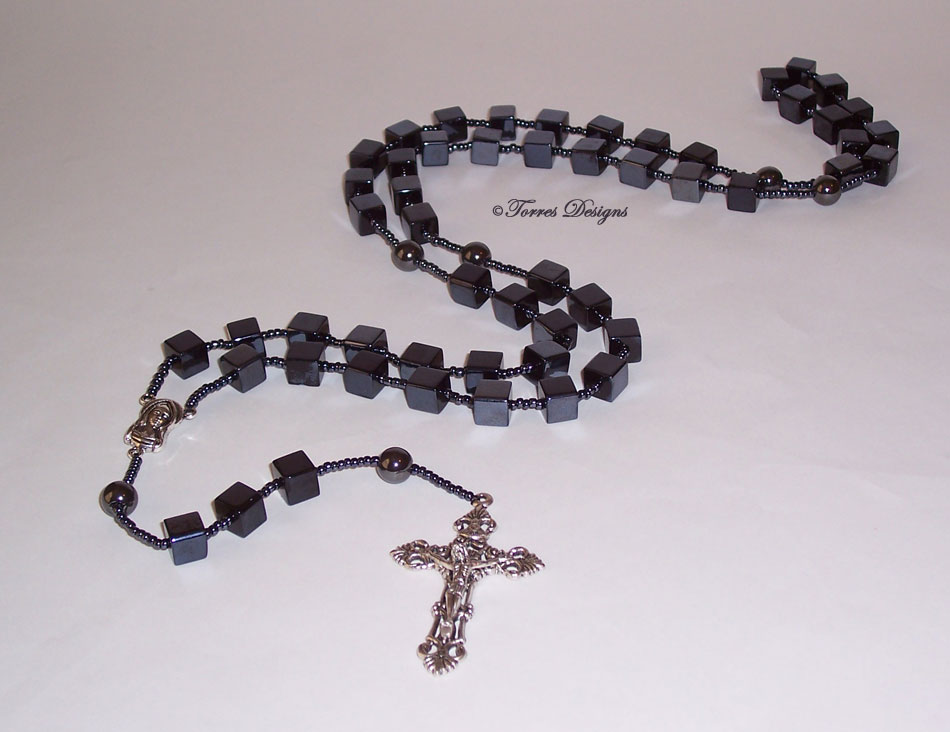 Black Metallic Cube Large Glass Beads Rosary