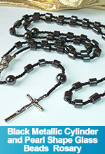 Rosary Black Metallic Cylinder Glass Beads Cross Crucifix OOAK One of a Kind Handmade Custom TorresDesigns Torres Designs