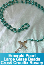 Rosary Emerald Pearl Glass Beads Handmade Custom OOAK One of a Kind TorresDesigns Torres Designs