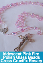 Rosary Iridescent Pink Fire Polish Glass Beads Handmade Custom OOAK One of a Kind TorresDesigns Torres Designs