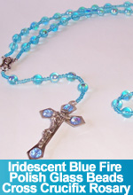 Rosary Iridescent Blue Fire Polish Glass Beads Handmade Custom OOAK One of a Kind TorresDesigns Torres Designs