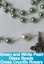 Rosary Green and White Pearl Glass Beads Handmade Custom OOAK One of a Kind TorresDesigns Torres Designs