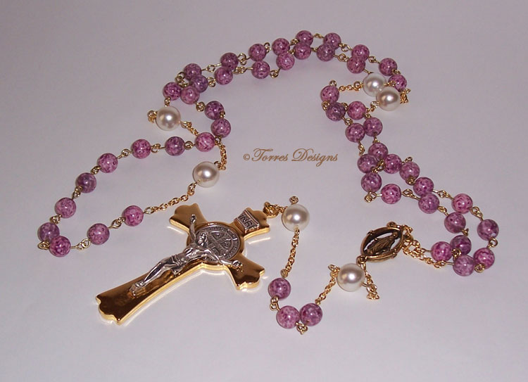 Pink Marble White Pearl Beads Rosary