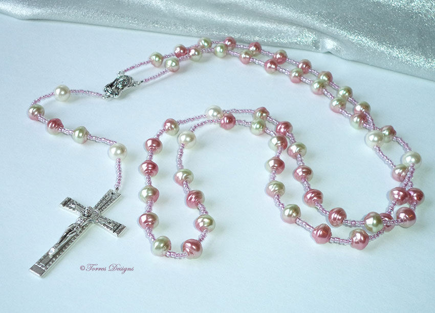 Pink & White Pearl Rosary and Large Cross
