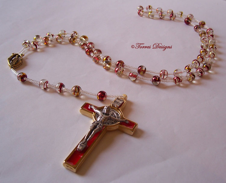 Red Gold Confetti Large Glass Beads Rosary