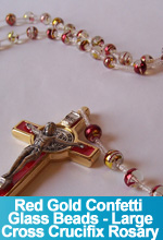 Rosary Red Gold Confetti Glass Beads Cross Crucifix OOAK One of a Kind Handmade Custom TorresDesigns Torres Designs