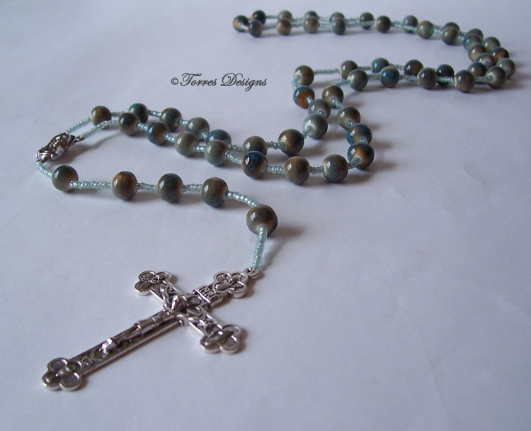 Sea Stone Rock Color Large Glass Beads Rosary
