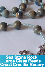 Rosary Sea Stone Rock Color Glass Beads Cross Crucifix OOAK One of a Kind Handmade Custom TorresDesigns Torres Designs