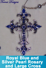 Royal Blue and Silver Pearl Rosary and Large Cross
