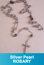 Rosary - Silver Pearl Beads