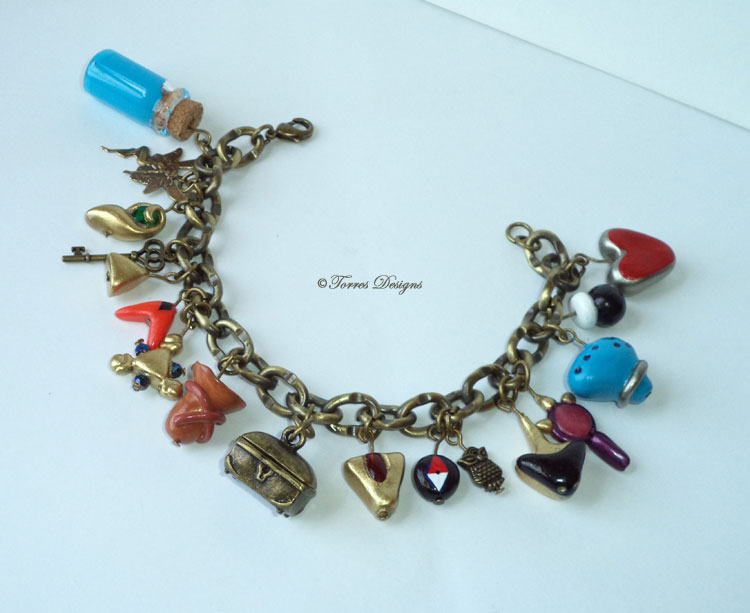 Ocarina of Time Charm Bracelet in Antique Gold tone #2 Legend of Zelda