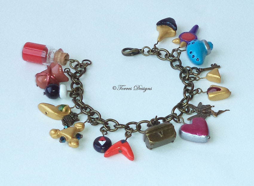 Ocarina of Time Charm Bracelet in Antique Gold tone #5 Legend of Zelda