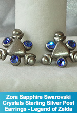 Zora Sapphire Spiritual Stone Earrings with Swarovski Crystals and Sterling Silver post Legend of Zelda Ocarina of Time Handmade Custom OOAK One of a Kind TorresDesigns Torres Designs