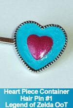 Heart Piece Container Hair Pin Legend of Zelda Ocarina of Time inspired Custom OOAK by TorresDesigns Torres Designs