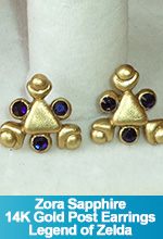 Zora Sapphire Swarovski Crystals and 14K Gold Post Earrings Spiritual Stone Legend of Zelda Ocarina of Time Handmade Custom OOAK One of a Kind TorresDesigns Torres Designs